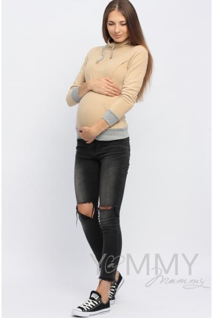 Толстовка для кормящих и беременных флисовая с завязками, цвет песочная