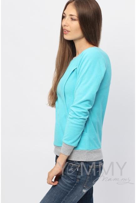 Джемпер для кормящих и беременных флисовый, цвет бирюзовый