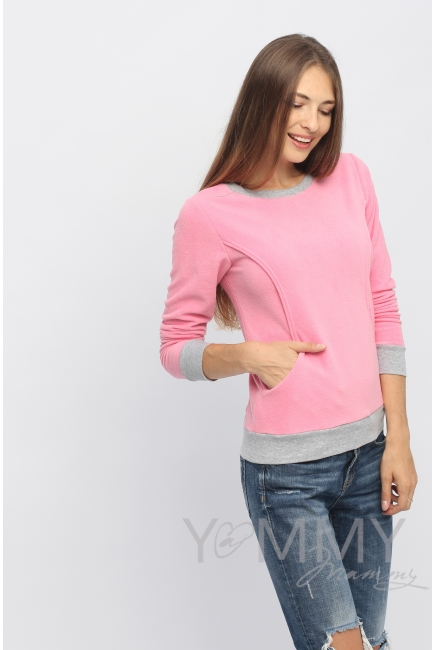 Джемпер для кормящих и беременных флисовый, цвет розовый
