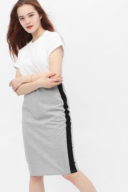 Юбка-карандаш для беременных и родивших универсальная, серый меланж/черный