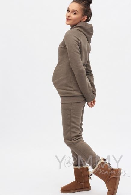 Теплый костюм для беременных и кормящих, цвет коричневый меланж