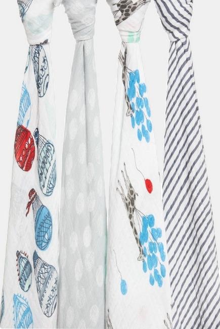 Муслиновые пеленки для новорожденных Aden&Anais, большие, набор 4, Dream Ride