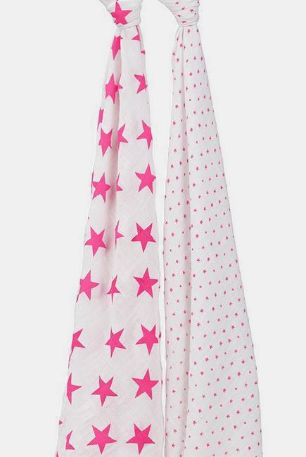 Муслиновые пеленки для новорожденных Aden&Anais большие, набор 2, Neon Fluro Pink