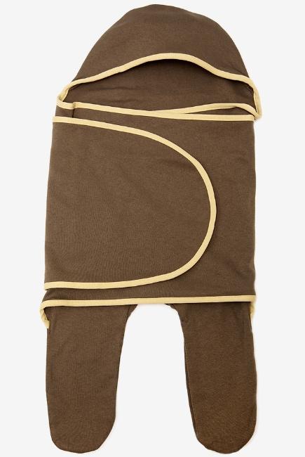 Пеленка кокон для новорожденных (комбинезон-конверт), коричневый