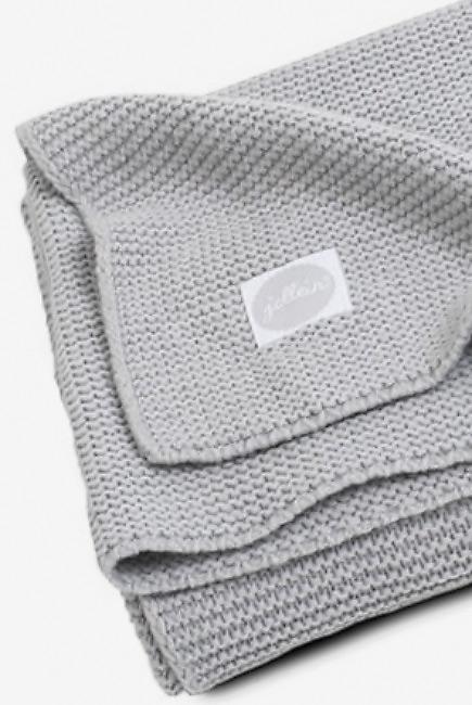 Вязаный плед для новорожденных Jollein Basic Knit, серый, средний