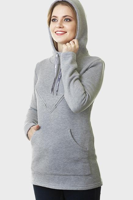 Толстовка для беременных и кормящих из футера Betty, серый
