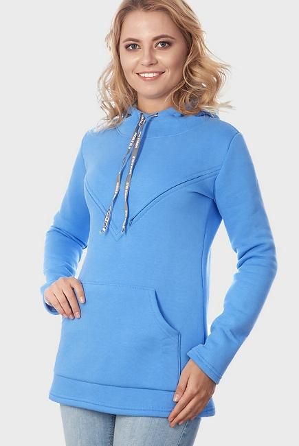 Толстовка для беременных и кормящих из футера Betty, голубая