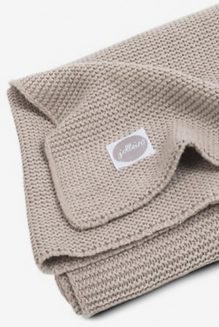 Вязаный плед для новорожденных Jollein Basic Knit, песочный, большой