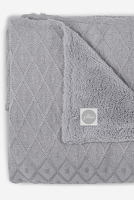 Вязаный плед для новорожденного с мехом Jollein Diamond, серый