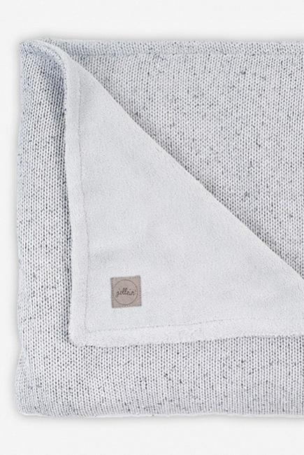 Вязаный плед для новорожденного с мехом Jollein Confetti, серый