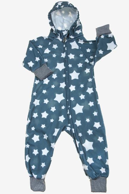 Флисовый комбинезон детский (поддева) Comfort, серые звезды