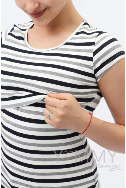 Футболка для кормящих и беременных, белая в серую полоску меланж