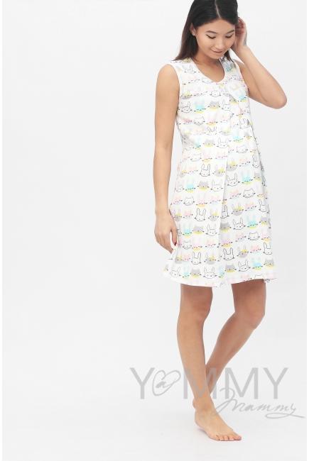 Комплект халат с сорочкой ментол с принтом котики/зайчики
