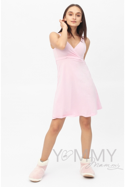 Комплект халат с сорочкой розовый