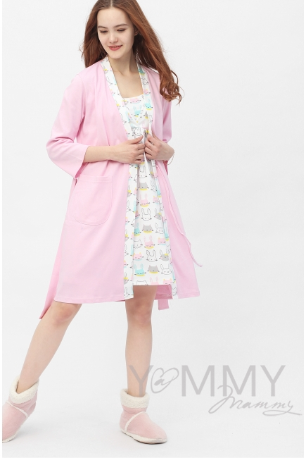 Комплект халат с сорочкой розовый с принтом зайчики/котики
