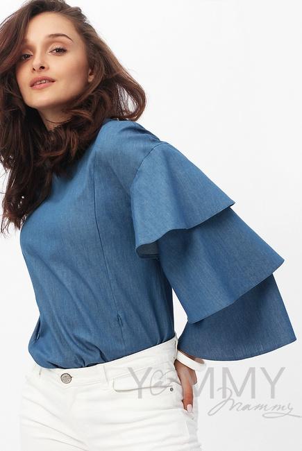 Блуза для беременных и кормящих джинс с воланами на рукавах, синий