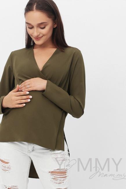 Блуза для беременных и кормящих на запах, цвет хаки