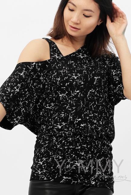 Блуза для беременных и кормящих со спущенным плечом, черный