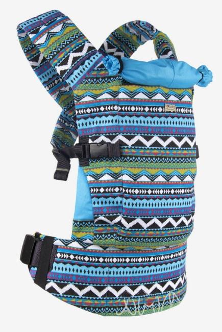 Эрго-рюкзак Light, бирюзовый орнамент