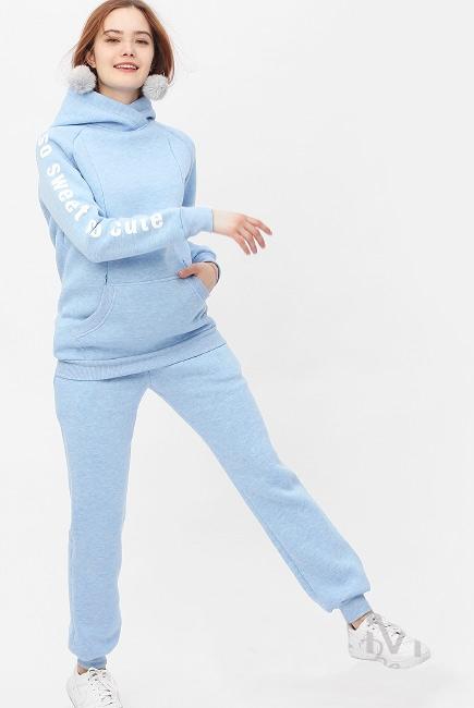 Костюм для кормящих и беременных с начесом, голубой