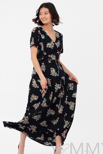 Платье для беременных и кормящих длинное на запах с цветочным принтом, темно-синее