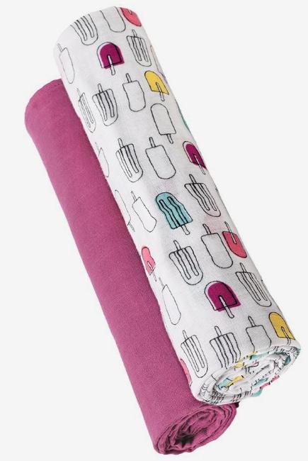 Бамбуковые пеленки для новорожденных Bebe Au Lait, набор 2, Popsicles/Cherry