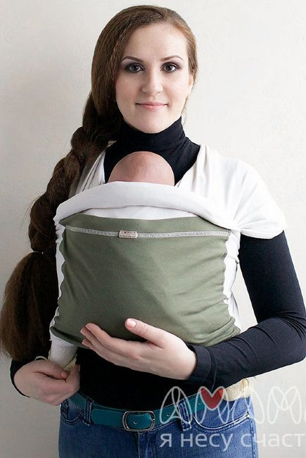 Слинг-шарф трикотажный Мотатик, оливково-бежевый