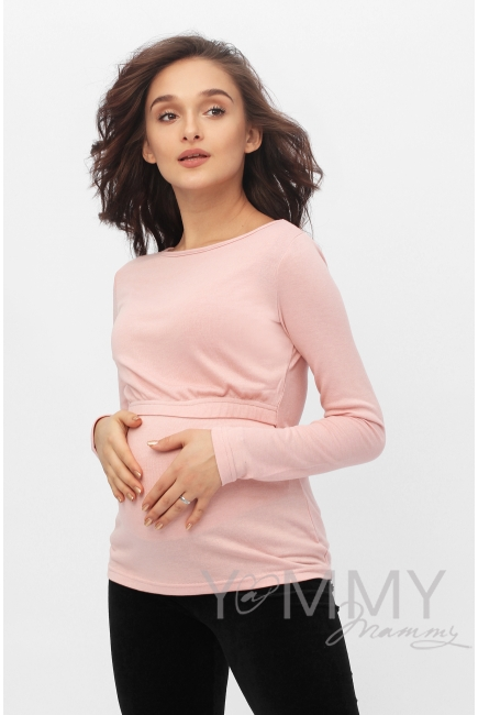 Лонгслив для кормящих и беременных, жемчужно-розовый