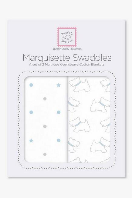 Набор пеленок SwaddleDesigns - Marquisette 2-Pack, Pstl Blue Little Doggie & Dottie Star