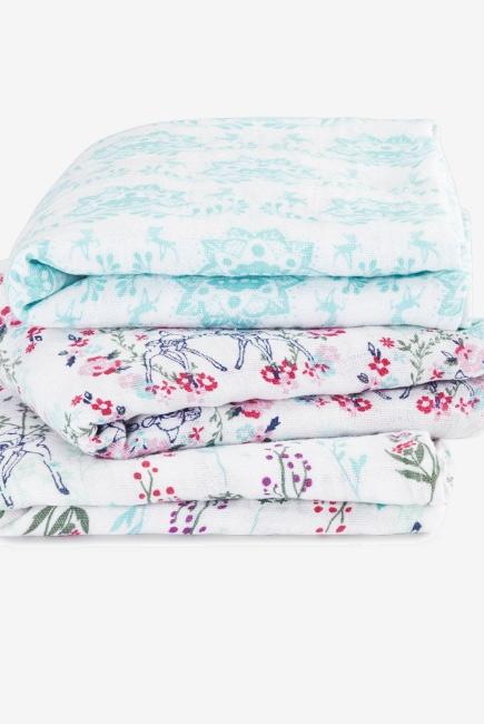 Муслиновые пеленки для новорожденных средние Aden&Anais, набор 3, Disney Bambi