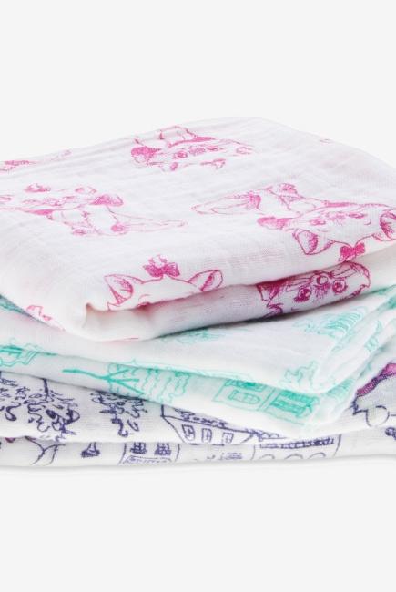 Муслиновые пеленки для новорожденных средние Aden&Anais, набор 3, Disney Aristocrats