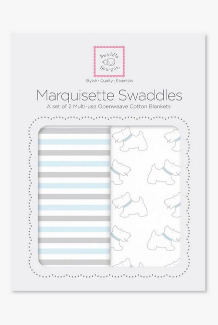 Набор пеленок SwaddleDesigns - Marquisette 2-Pack Little, Doggie Simple Stripes
