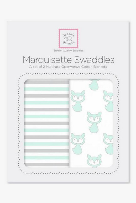 Набор пеленок SwaddleDesigns Marquisette 2-Pack Little Fox Simple Stripes