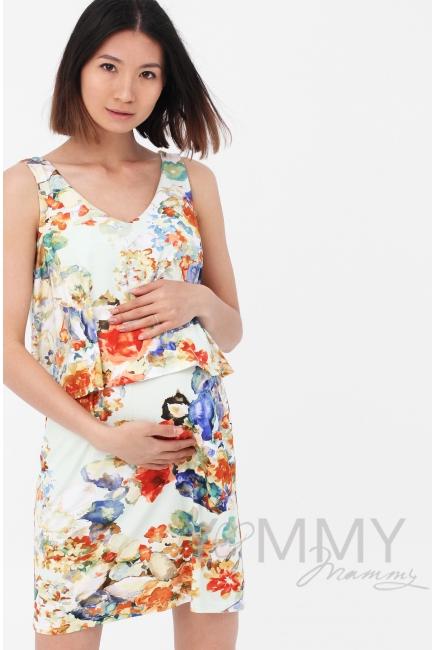 Платье для кормящих и беременных двухъярусное с цветочным принтом, экрю