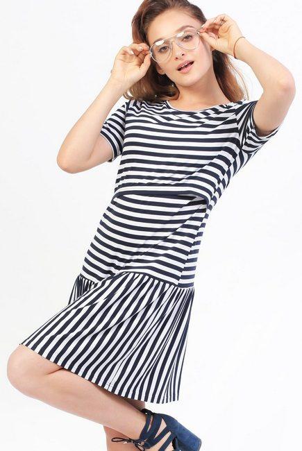 Платье Платье для кормящих и беременных с воланом, в полоскус воланом в  полоску для кормящих ... d2c6e22c6d0