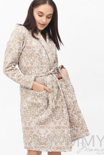 Халат для беременных и кормящих с цветочным принтом, бежевый