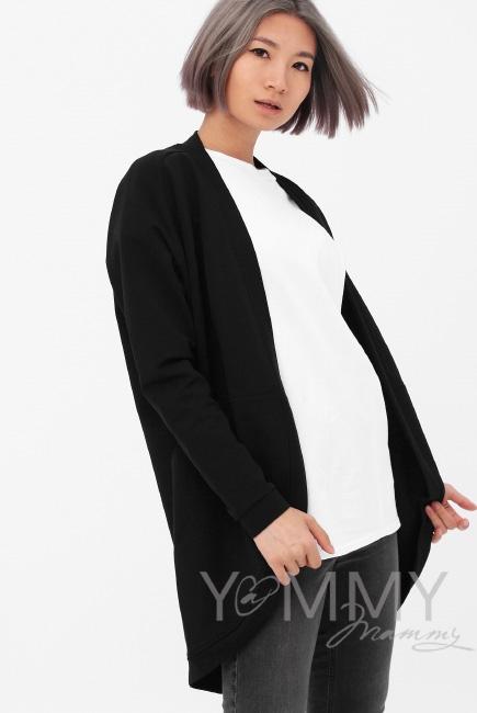 Кардиган для кормящих и беременных с карманами, цвет черный