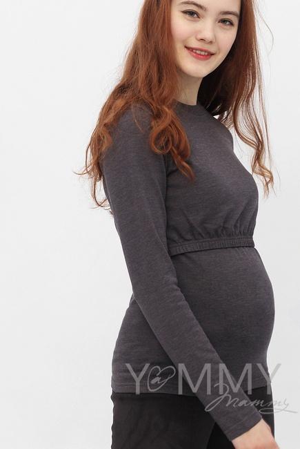 Лонгслив для кормящих и беременных, цвет антрацит