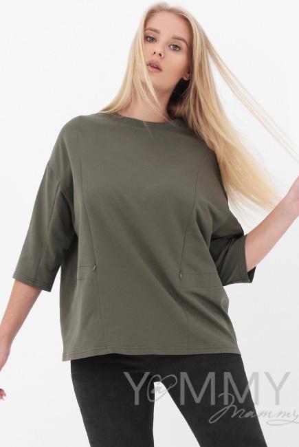 Джемпер для беременных и кормящих, цвет хаки