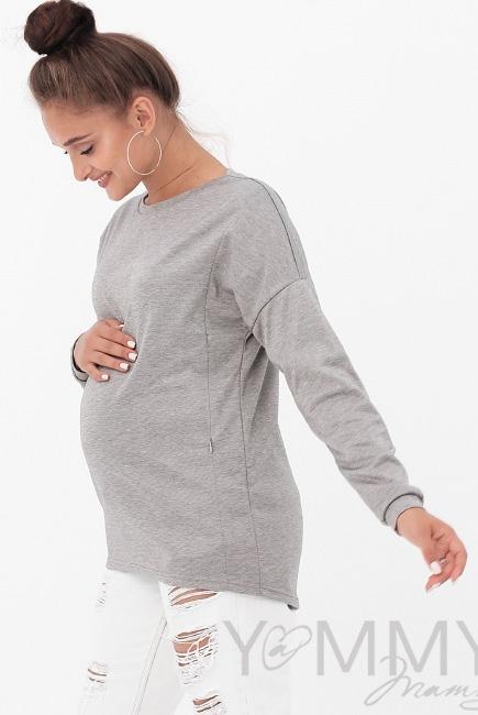 Джемпер для кормящих и беременных, цвет серый меланж