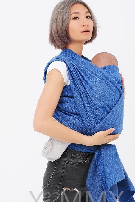 Слинг-шарф алмазного плетения YM, цвет васильковый/темно-серый