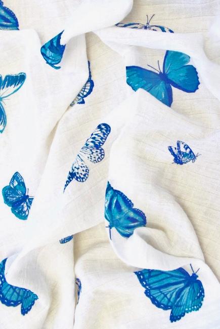 Муслиновая пеленка для новорожденных с бамбуком Diva большая, Butterfly