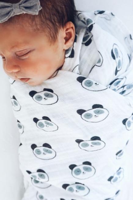 Муслиновая пеленка для новорожденных Diva большая, Panda