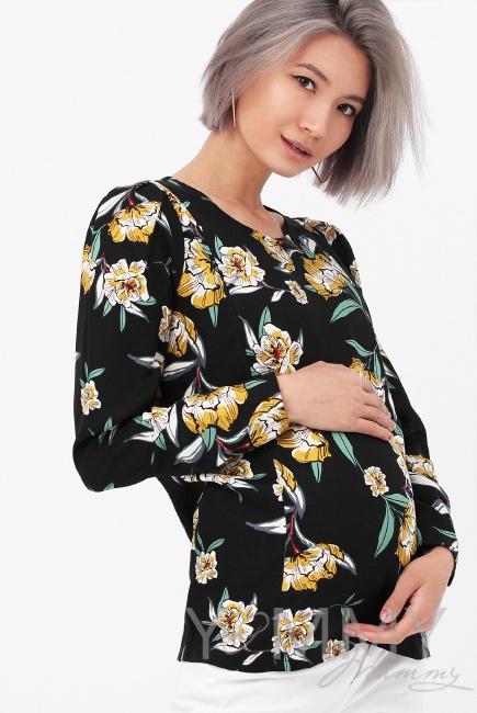 Блуза для кормящих и беременных, цвет черный/цветы