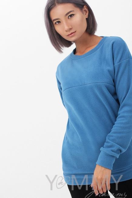 Джемпер для беременных и кормящих флисовый, цвет деним