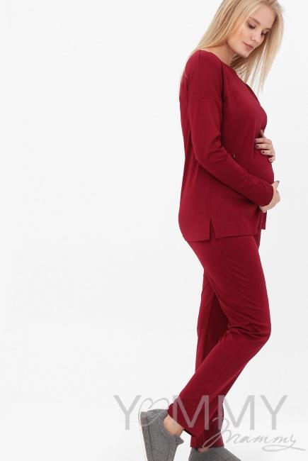 Костюм для кормящих и беременных, цвет марсала