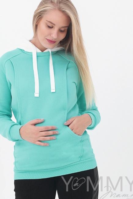 Толстовка для беременных и кормящих с капюшоном, цвет ментоловый