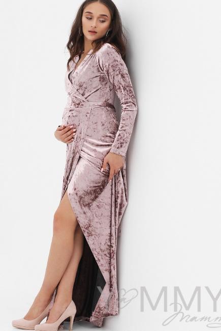 690b57e2bcdf069 Вечернее платье для кормящих и беременных длинное бархатное на запах, цвет  пудрово-розовый ...