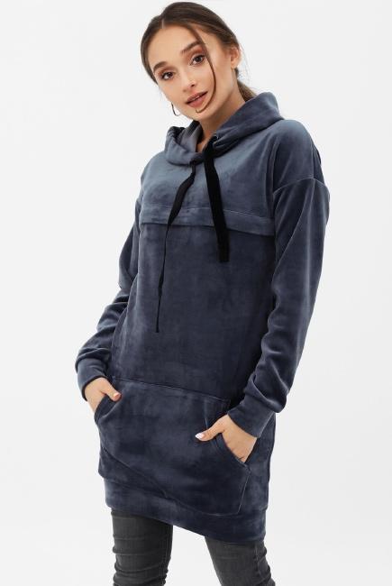 ea31ea52b755 Платье-толстовка для беременных и кормящих с капюшоном из велюра, цвет  серо-синий
