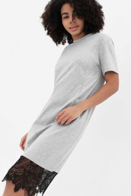 17ac6bcc155d Платье-футболка для кормящих и беременных с кружевом, цвет серый меланж ...